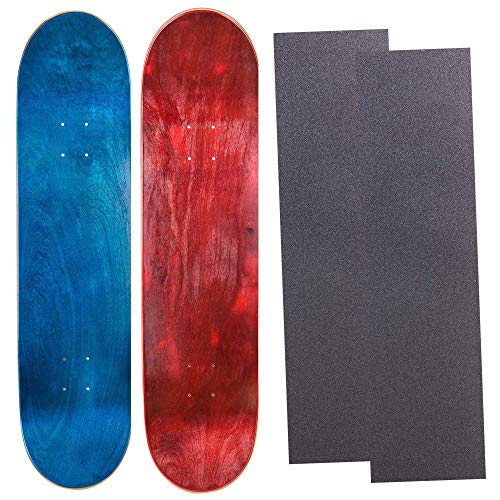 (Cal 7 Blank Maple Skateboard Decks with Grip Tape  7 Two Pack (Blue, Red, 8.0 inch))