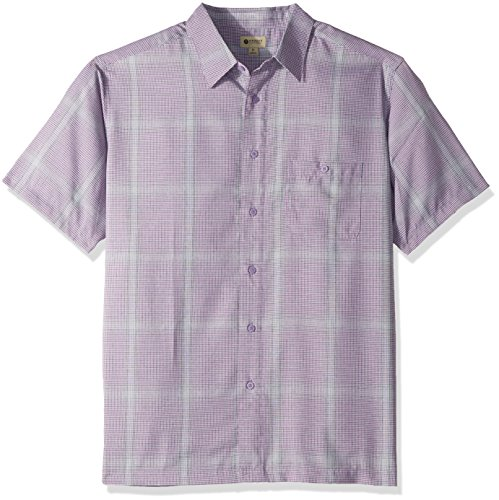 Haggar Men's Short Sleeve Microfiber Woven Shirt, Plum Cream, M - Woven Plum