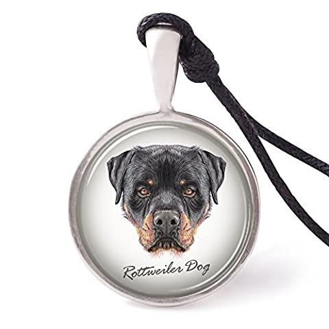 Vietguild's portrait of Rottweiler Dog Necklace Pendants Pewter Silver Jewelry - Rottweiler Jewelry