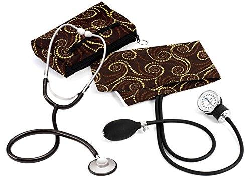 Prestige Medical Basic Aneroid Sphygmomanometer Single Head Kit, Chocolate Gold Swirls