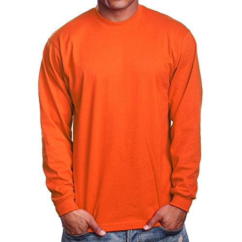 PRO 5 Super Heavy Mens Long Sleeve T-Shirt, X-Large Tall,Orange