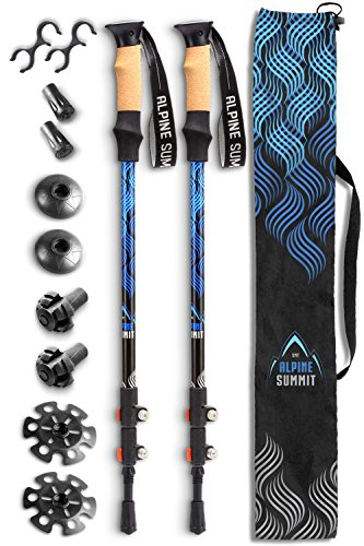 Premium Aluminum Hiking Poles w/Cork Grips - Your Collapsible Trekking/Walking Sticks come with Anti-shock Tips and Flip Locks - Enjoy the Great (Ski Tip Lock)