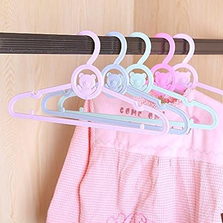 Haodou 5pcs Plastique Cartoon b/éb/é Cintres Enfants cintres en Plastique Multi Fonction de Nouveau-n/é Cintres Rose