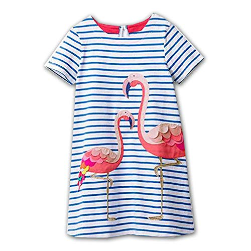 VIKITA Kid Girls Cute Blue Short Sleeve Summer Dress SMK006 Blue 8T]()