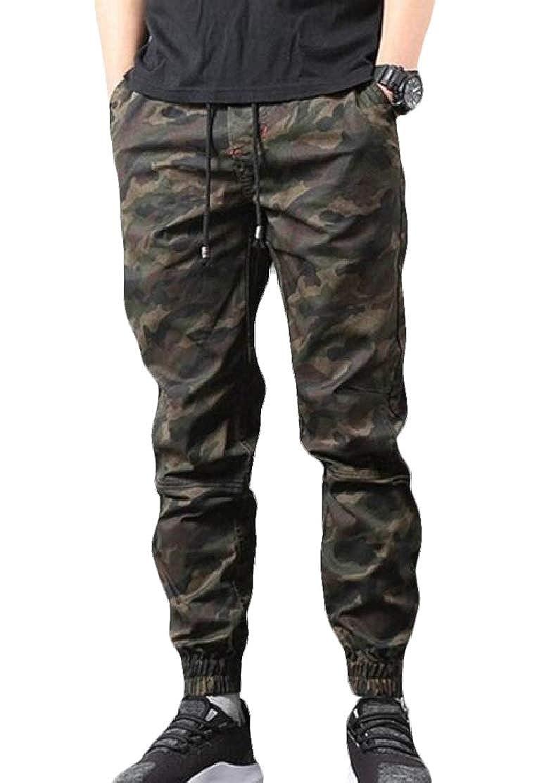 JXG Men Camo Close Bottom Leisure Drawstring Straight Fit Vintage Pants