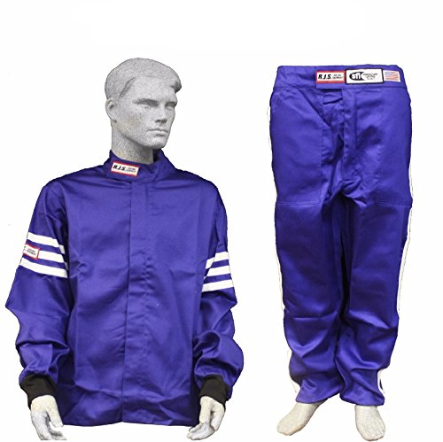 Racerdirect RJS Racing SFI 3.2A/1 Classic FIRE Suit Race Jacket & Pants Blue Size Adult XL