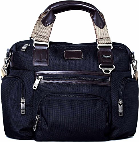 Trolley Bag Black (LEHANZ Slim Laptop Messenger Fits 14-Inch Computer Nylon Briefcase for Rolling Handle, Waterproof Carryon Bag with Quick Access Organized Pocket, Black)