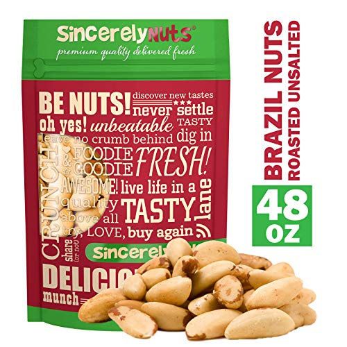 Sincerely Nuts Brazil Nuts Roasted and Unsalted - Three lbs. Bag | Premium Healthy Snack Food | Whole, Kosher, Vegan, Gluten Free | Gourmet Snack | Great Source of Protein, Vitamins & Minerals