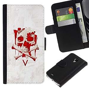 All Phone Most Case / Oferta Especial Cáscara Funda de cuero Monedero Cubierta de proteccion Caso / Wallet Case for Samsung Galaxy S4 Mini i9190 // V Vendetta Skull