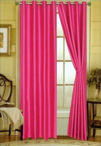 LuxuryDiscounts 2 Piece Solid Hot Pink Faux Silk Grommet Win