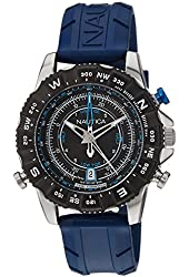 Nautica Men's 46mm Blue Silicone Band Steel Case Quartz Black Dial Analog Watch NAI20005G