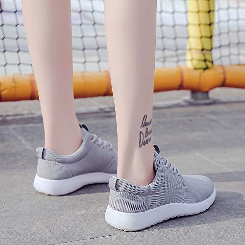 Sneakers Gris Casuales para Mujer Fitness Cordones Correr Zapatillas Zapatilla Vuelo de Zapatos Entrenadores Logobeing de Deportivas 8qYBZwx4v