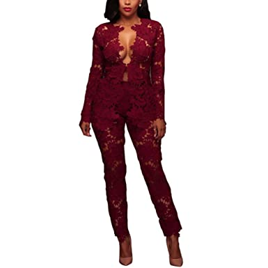 2ee586455ef Joseph Costume Women s Sexy Floral Lace Blazer Long Sleeve Bodycon Two  Piece Jumpsuit Rompers Clubwear Wine