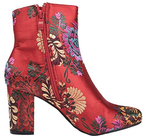Lora Dora Womens Block Heel Oriental Ankle Boots Red Floral x1uTK