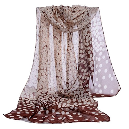 Chiffon Scarf,Han Shi Fashion Women Dot Print Shawl Casual Soft Long Wrap Blanket Towel (Coffee, L)