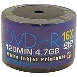 Aone Blank DVD DVD-R 16x Full-Face Inkjet Printable Discs - 4.7GB 120min - 50 Pack