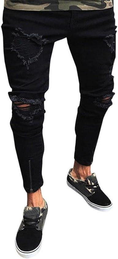Gusspower Pantalones Vaqueros Hombres Rotos Pitillo Originales ...