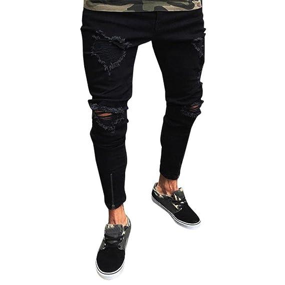 Gusspower Pantalones Vaqueros Hombres Rotos Pitillo Originales Slim Fit Skinny Pantalones Casuales Elasticos Agujero Pantalón Personalidad