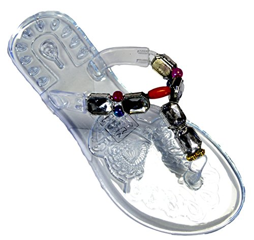 OCTAVE® Ladies Summer Beach Wear Flip Flops Collection Various Styles & Colours Jelly Sandals - Clear Base BJt8h