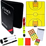 Dry-Erase Basketball Coaching Clipboard - Coach's Equipment that Includes Magnetic Board, Scorebook, Playbook, Whistle, Cards and Extras for Strategist, Techniques, and Plays - Multi-Sport