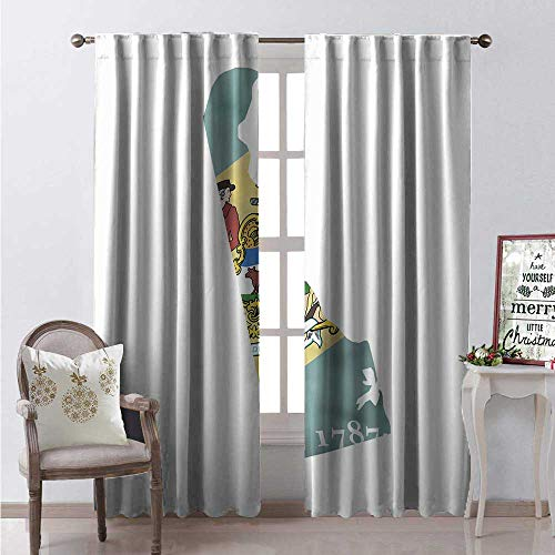 Hengshu Delaware Waterproof Window Curtain The First State Map and Flag Small Wonder Diamond Ship Agriculture Decorative Curtains for Living Room W120 x L108 Cadet Blue and Multicolor