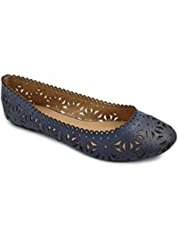 Greatonu Womens Flower Cut Out Flat Ballerina Shoes