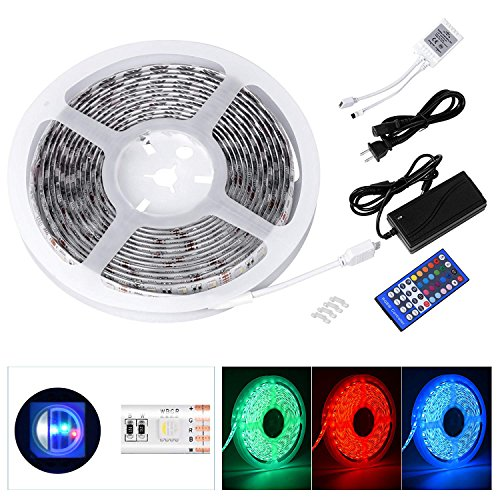 Le Freshinsoft LED Rope Lights RGBW Light Strip Waterproof 5050 SMD 16.4 Ft 300 Leds LED Strip Lights Full Color Changing Kit with 40Key IR Controller and Power Supply for Kitchen,Trucks, Living Room