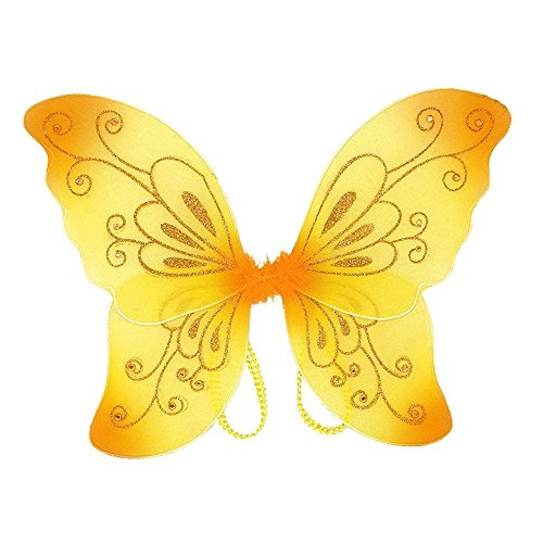 White Sparkling Fairy Costume Wings (Yellow)