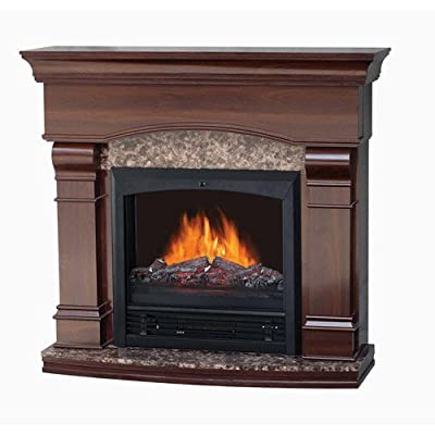 "Home Electric Fireplace w/ 47"" Mantle, realistic flame, Classic design, Walnut"