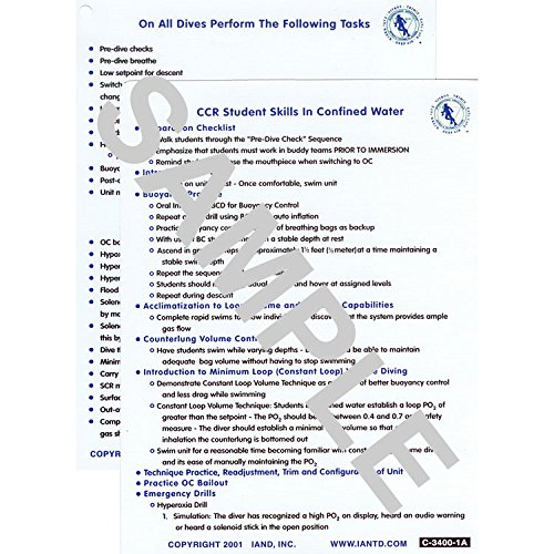 Decompression Dive Table - IANTD CCR Skills Sheet Set, Confined (C-3400-1) and OW (C-3400-2)