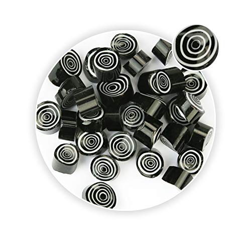 - Black Swirl Pattern Millefiori Glass Loose Beads Fusing Supplies