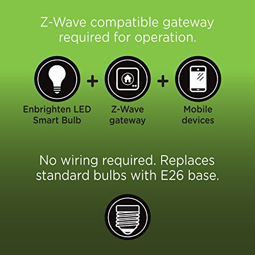 Enbrighten Z-Wave Plus Wireless Smart LED Light Bulb, Dimmable, 60-Watt Equivalent, 2700K Soft White, E26 Base, A19 Style Bulb, 750 Lumens, Hub Required, 35931, Works with Alexa by Enbrighten (Image #4)