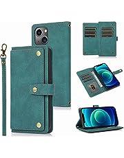 Xiaomi Redmi 9C Wallet Case, voor Xiaomi Redmi 9C Telefoon Case, Flip Folio Lederen Cover Rits Portemonnee met Kaarthouder Kickstand Geld Pocket & Polsband Boek Fold Case blauw