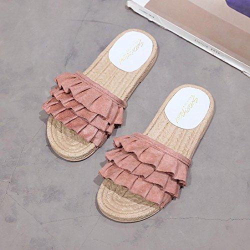 Zapatos Sandalias Redonda Talón Zapatillas Casual Estar Color WINWINTOM por de Sandalias Rosa 2018 Bajo Verano y Zapatilla Puro Casa Punta Moda Mujer Playa Chanclas 4xwnTXZBqU