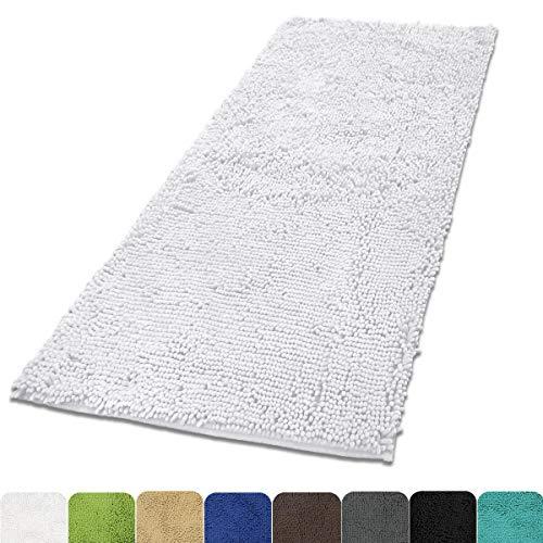Chenille Bath (MAYSHINE 31x59 inch Non-slip Bath Mat Area Rug Runner Chenille Soft Microfber for Living Room Bedroom - White)