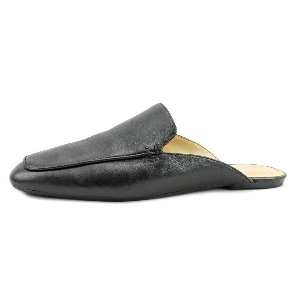 Amazon.com   Nine West Lesliee Women Square Toe Leather Black Slipper   Loafers & Slip-Ons