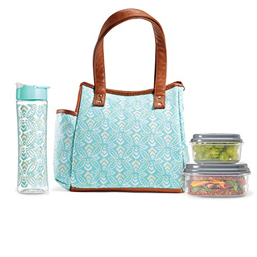 - Fit & Fresh Insulated Lunch Bag Kit, includes Matching Bottle and Containers, Westerly Aqua Stamped Rings