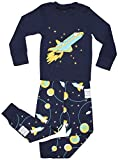 Elowel Little Boys Space Rocket 2 Piece Pajamas Set 100% Cotton Size 8 Blue
