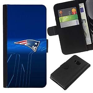 Patriotas Equipo deportivo - la tarjeta de Crédito Slots PU Funda de cuero Monedero caso cubierta de piel Para HTC One M7
