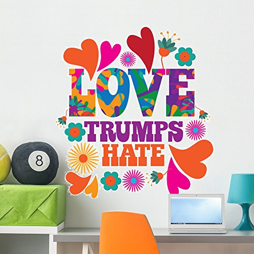 Wallmonkeys Love Trumps Hate Wall Mural Peel and Stick Typographic Graphics (36 in H x 36 in W) WM376361