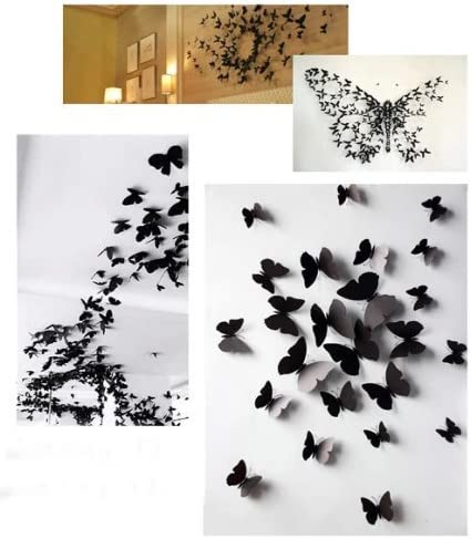 Ogquaton Premium Qualit/é Ensemble de 12 Pi/èces 3D Papillon Sticker Mural Amovible Sticker Mural pour Home Decor Noir
