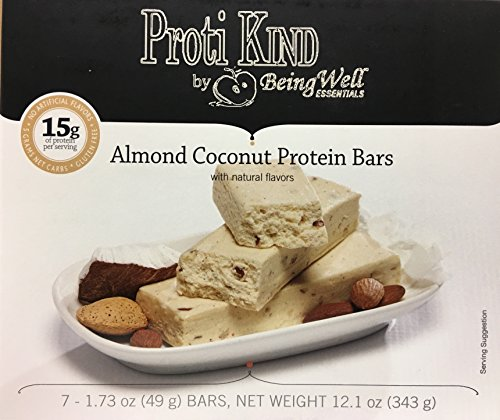 Proti Kind Bariatric Very Low Carb, Low Fat, Low Sugar - Bars Full Case of 84 bars - 12 boxes of 7 each bars - (Coconut Almond) by Being Well Essentials