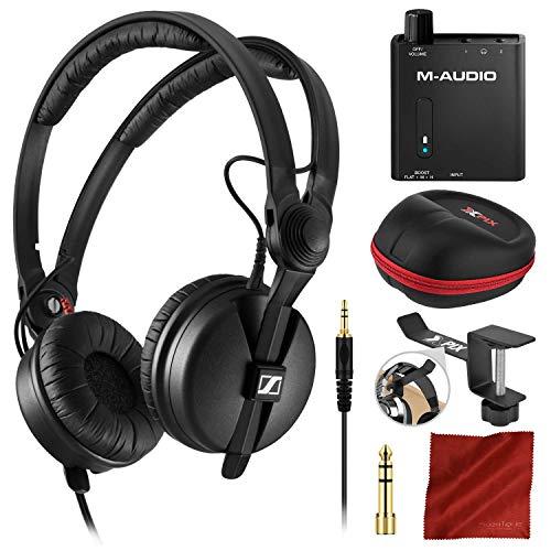 Sennheiser HD 25 On-Ear DJ Headphones and Portable 2-Channel Headphone Amplifier + Xpix Headphone Case and Xpix Headphone Hanger