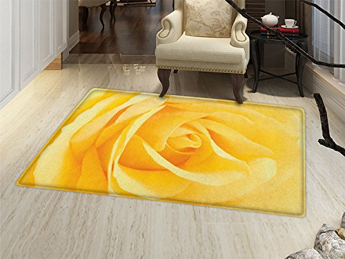 Yellow Carpet Rose - smallbeefly Yellow Flower Bath Mats Carpet Soft Yellow Rose Close View Romantic Dreamy Spring Delicate Petals Floor Mat Pattern Pale Yellow Mustard