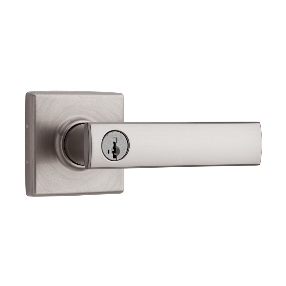 Kwikset Vedani Entry Lever featuring SmartKey in Satin Nickel