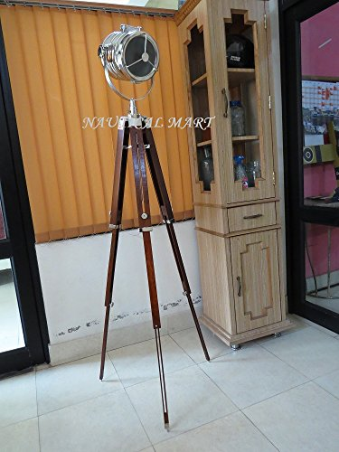 Nauticalmart Hollywood Studio Floor Lamp - Hand Made in Chrome with Walnut Polished Teak - Hollywood Walnut