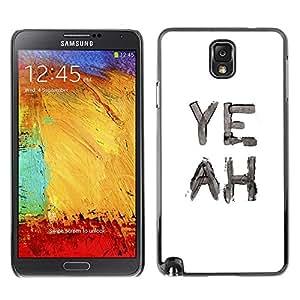 Sí Acuarela Blanco Negro Texto- Metal de aluminio y de plástico duro Caja del teléfono - Negro - Samsung Note 3 N9000