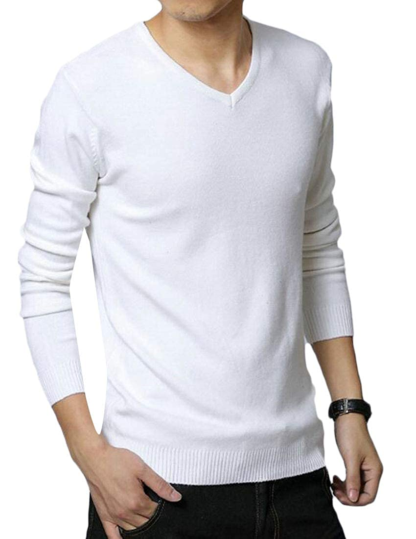 BYWX Men Long Sleeve Cotton Modal V-Neck Solid Knit Pullover Sweater
