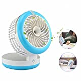 cast humidifier - Cingk Personal Fan Cooling Misting Fan, Portable USB Rechargeable Fan, Power Bank, Table Desk Mini Humidifier, Multifunction 3 in 1, Blue