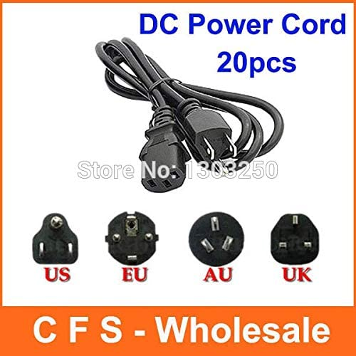 Calvas 20pcs Universal 3 Prong Power Cord Cable 1.2M UK Plug//EU Plug//US Plug//AU Plug for Desktop Printers Monitors wholesale